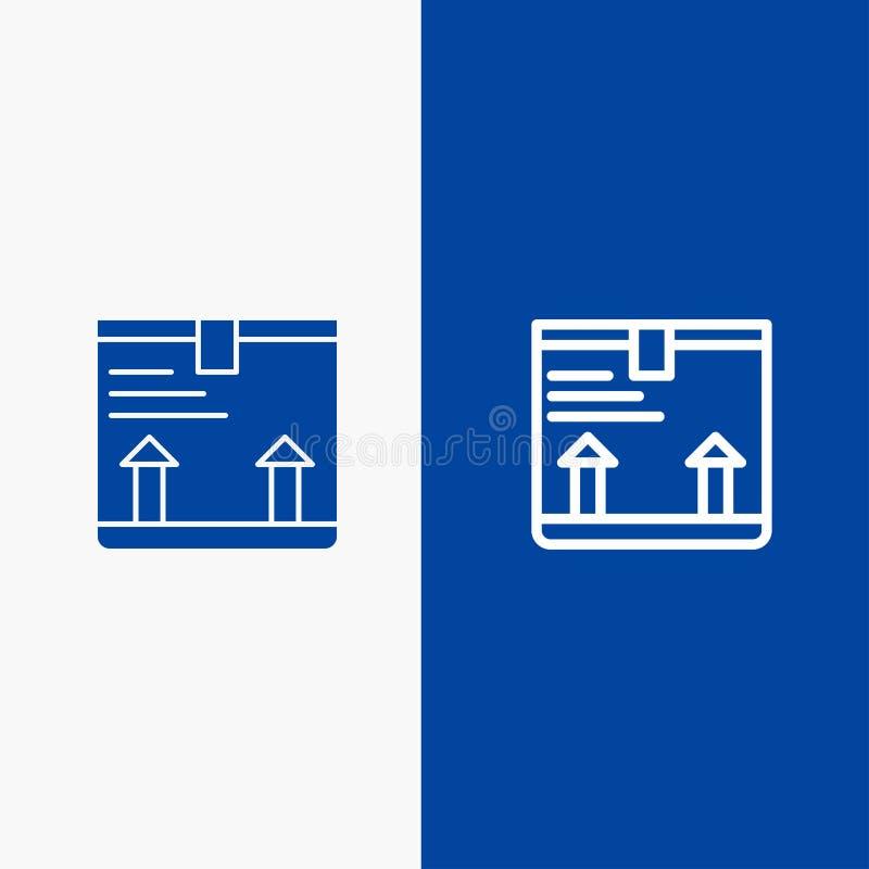 Παραδώστε, κιβώτιο, βέλος, επάνω γραμμή και στερεό μπλε έμβλημα εικονιδίων Glyph απεικόνιση αποθεμάτων