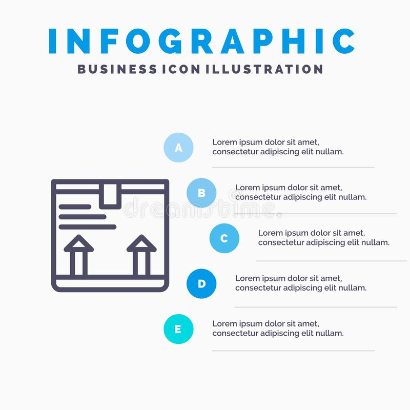 Παραδώστε, κιβώτιο, βέλος, επάνω μπλε πρότυπο 5 Infographics βήματα Διανυσματικό πρότυπο εικονιδίων γραμμών ελεύθερη απεικόνιση δικαιώματος