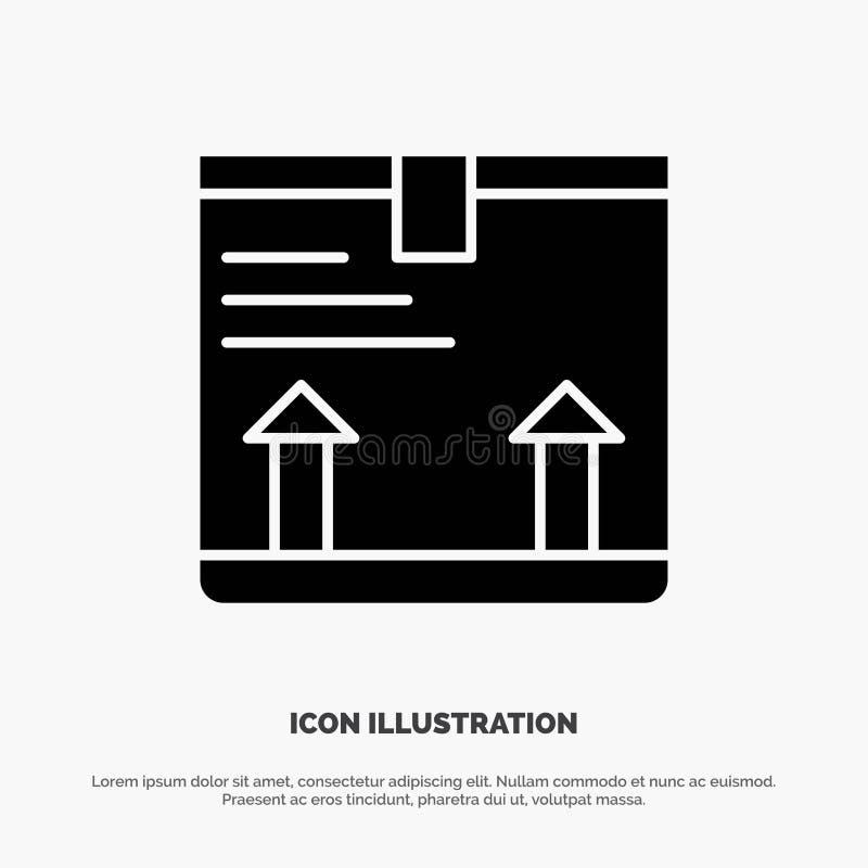Παραδώστε, κιβώτιο, βέλος, επάνω στερεό μαύρο εικονίδιο Glyph διανυσματική απεικόνιση