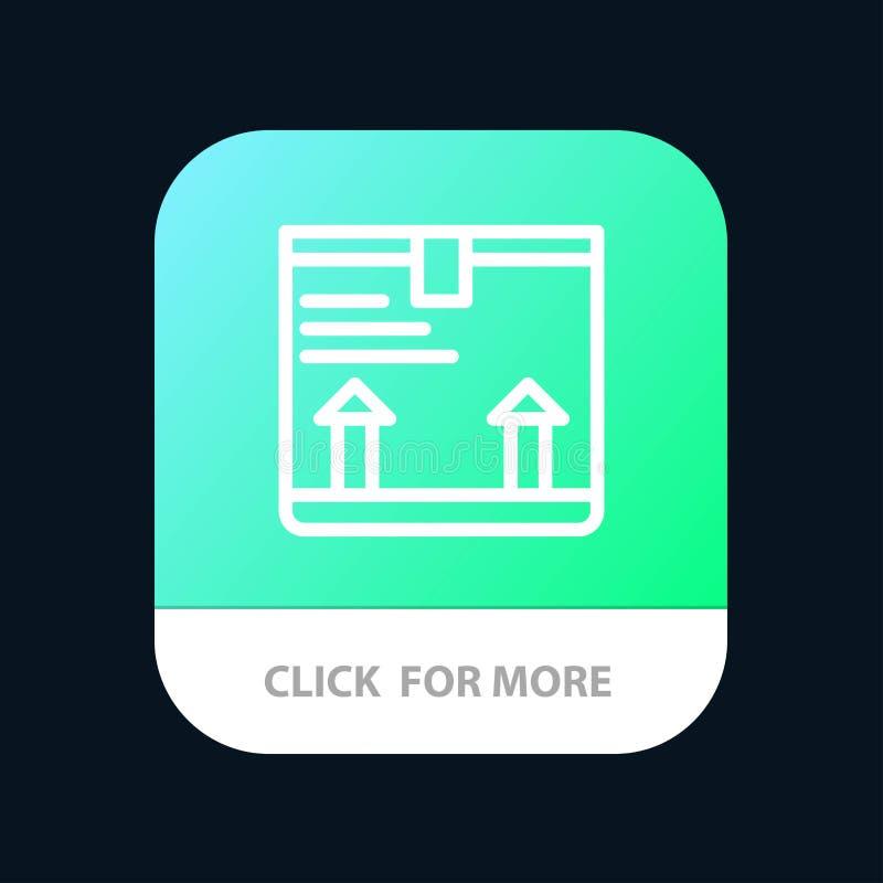 Παραδώστε, παράθυρο, βέλος, επάνω κινητό App κουμπί Έκδοση αρρενωπών και IOS γραμμών ελεύθερη απεικόνιση δικαιώματος