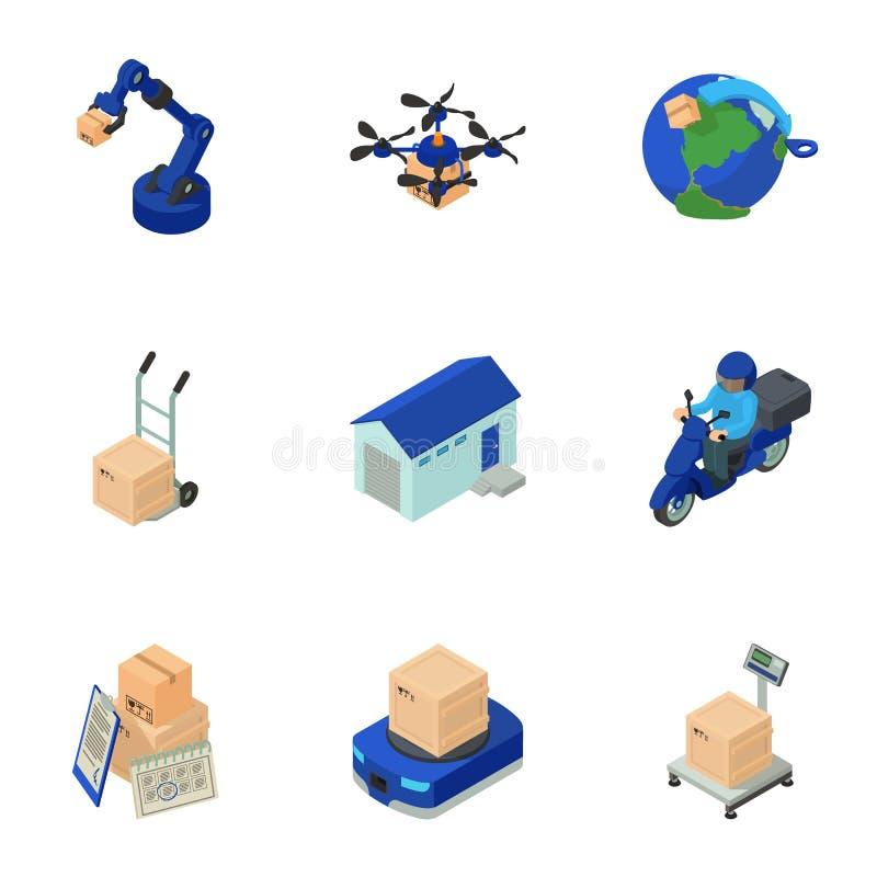Παραδώστε τα εικονίδια ταχυδρομείου καθορισμένα, isometric ύφος απεικόνιση αποθεμάτων