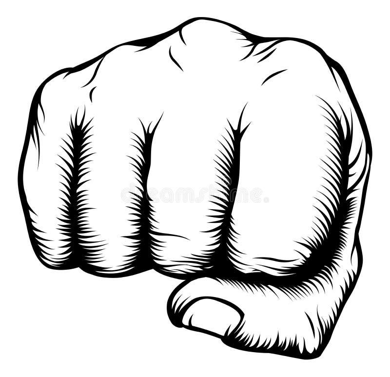 Παραδώστε punching πυγμών από το μέτωπο διανυσματική απεικόνιση
