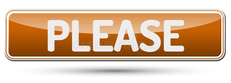 ΠΑΡΑΚΑΛΩ - Αφηρημένο όμορφο κουμπί με το κείμενο διανυσματική απεικόνιση