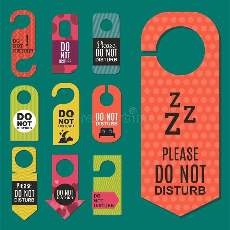 Παρακαλώ μην ενοχλήστε την ήρεμη έννοια ιδιωτικότητας δωματίων υπηρεσιών μοτέλ πορτών ξενοδοχείων που η διανυσματική κάρτα κρεμά  ελεύθερη απεικόνιση δικαιώματος