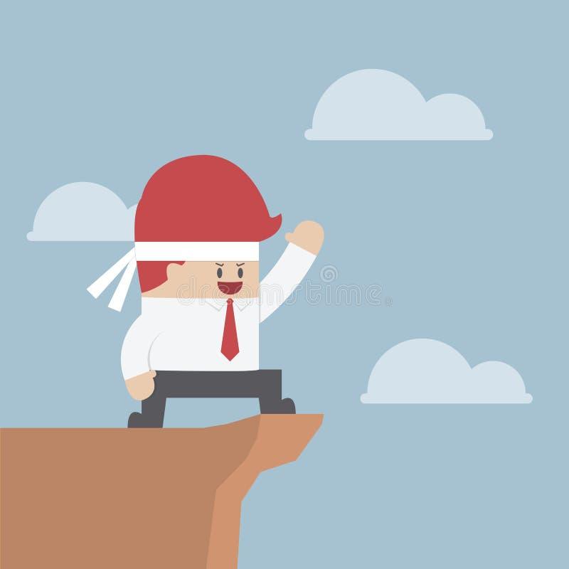 Παρακινημένος επιχειρηματίας στον απότομο βράχο, έννοια κινήτρου απεικόνιση αποθεμάτων