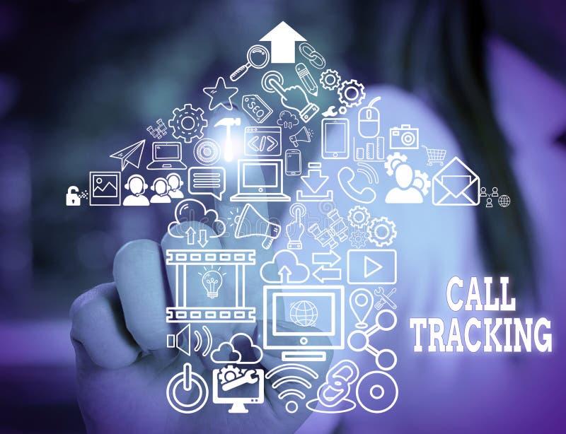 Παρακολούθηση κλήσεων για εγγραφή κειμένου στο Word Επιχειρηματική ιδέα για τη μηχανή οργανικής αναζήτησης Ψηφιακή διαφήμιση Δείκ στοκ φωτογραφία