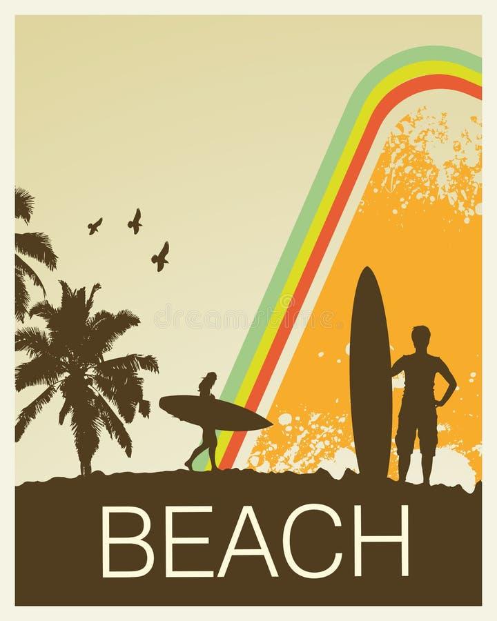 παραλία αναδρομική διανυσματική απεικόνιση