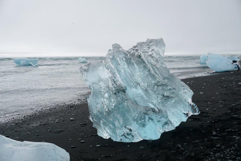Παραλία διαμαντιών της Ισλανδίας στοκ εικόνα με δικαίωμα ελεύθερης χρήσης