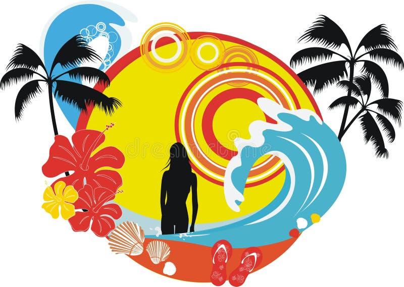 παραλία εμβλημάτων διανυσματική απεικόνιση