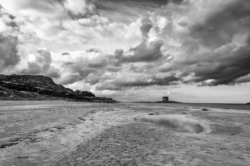 Παραλία ερήμων στο χειμερινό μεσημέρι σε γραπτό στοκ φωτογραφίες με δικαίωμα ελεύθερης χρήσης