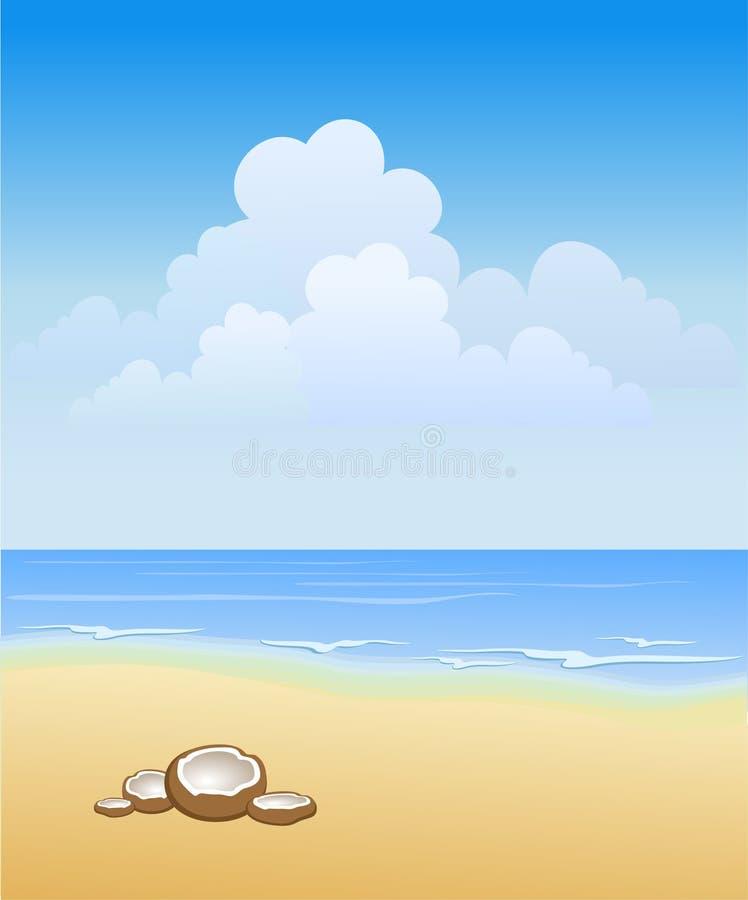 παραλία ηλιόλουστη διανυσματική απεικόνιση