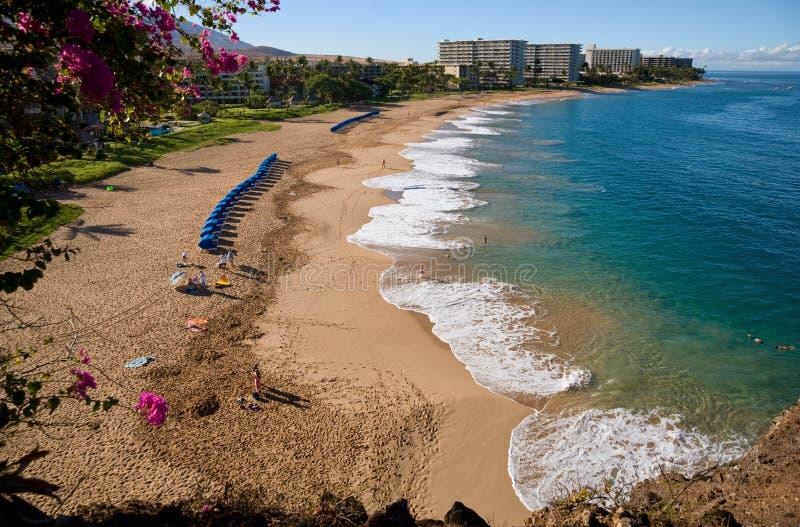 παραλία κάτω από το kaanapali της Χαβάης που φαίνεται Maui στοκ εικόνα με δικαίωμα ελεύθερης χρήσης
