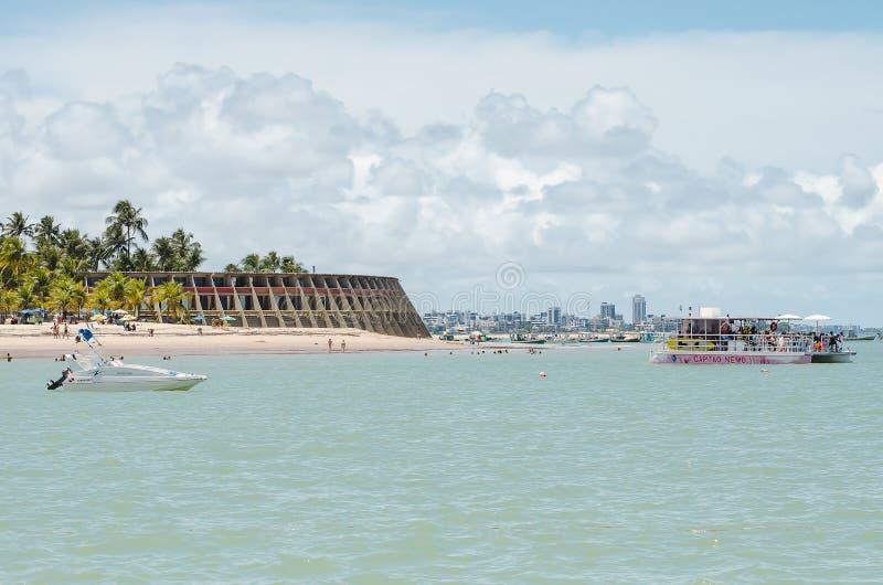 Παραλία και ξενοδοχείο Tambau, Joao Pessoa Βραζιλία στοκ εικόνα