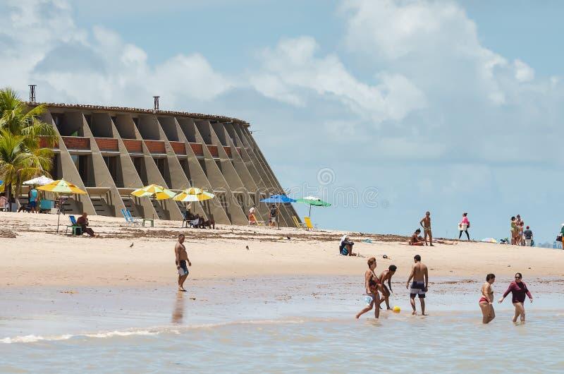 Παραλία και ξενοδοχείο Tambau, Joao Pessoa Βραζιλία στοκ εικόνες