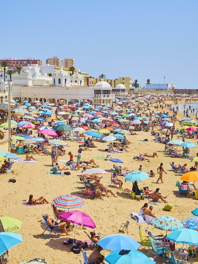 Παραλία Λα Caleta Άποψη από Duque de Najera Avenue Καντίζ Ανδαλουσία, Ισπανία στοκ εικόνες με δικαίωμα ελεύθερης χρήσης