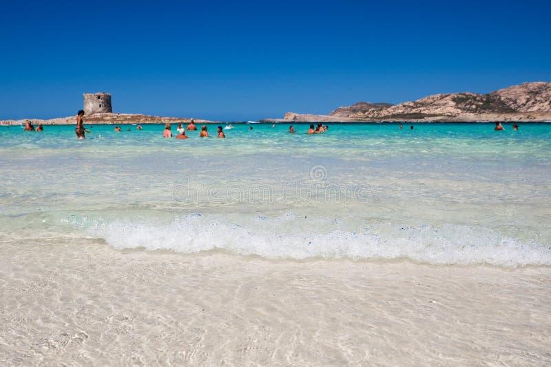 Παραλία Λα Pelosa στο νησί Σαρδηνία στοκ φωτογραφίες με δικαίωμα ελεύθερης χρήσης