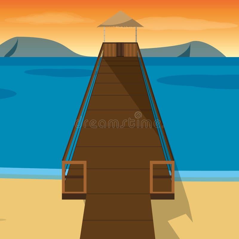 Παραλία με το σχέδιο αποβαθρών διανυσματική απεικόνιση