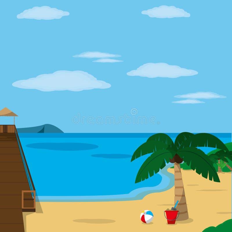 Παραλία με το σχέδιο αποβαθρών απεικόνιση αποθεμάτων