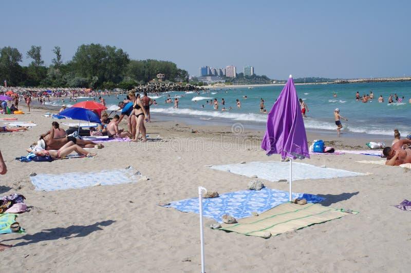 Παραλία στην ακτή Μαύρης Θάλασσας στοκ εικόνες