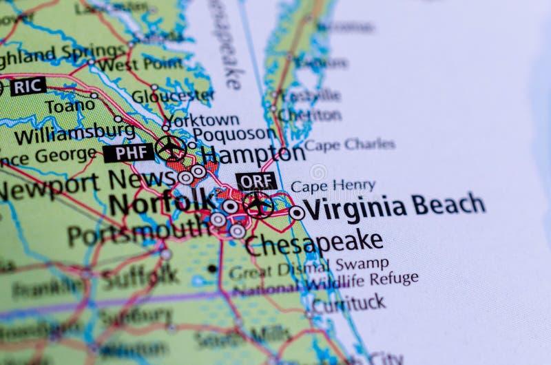 Παραλία της Βιρτζίνια, Βιρτζίνια στο χάρτη στοκ φωτογραφίες με δικαίωμα ελεύθερης χρήσης