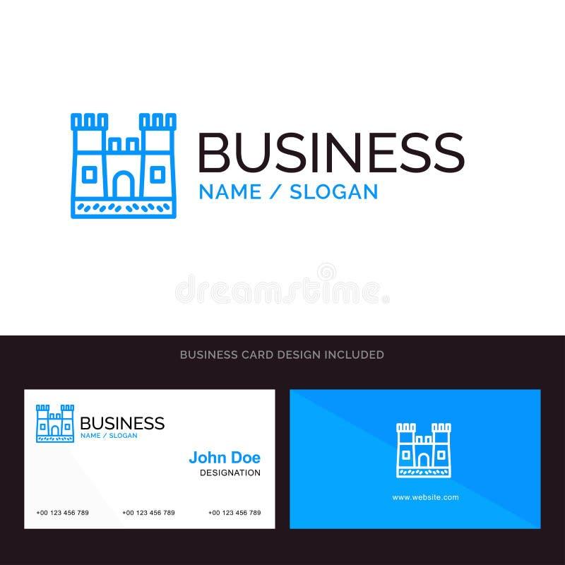 Παραλία, Castle, μπλε επιχειρησιακό λογότυπο του Castle άμμου και πρότυπο επαγγελματικών καρτών Μπροστινό και πίσω σχέδιο ελεύθερη απεικόνιση δικαιώματος