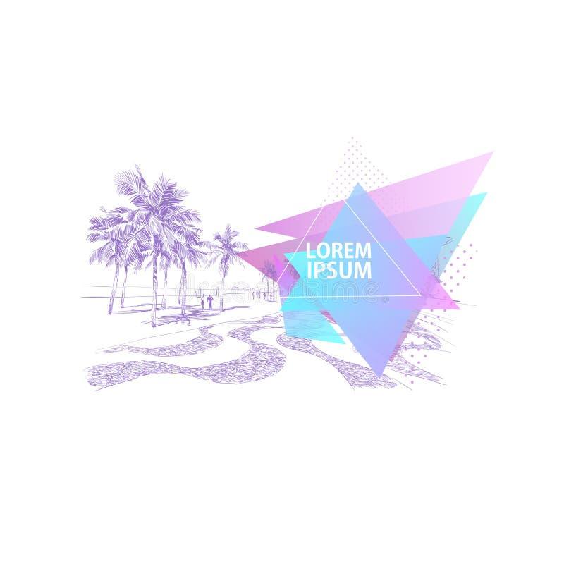 Παραλία Copacabana Ρίο de janeiro _ Αφηρημένη γραφική μορφή τριγώνων Εμβλήματα προτύπων, κάρτες, αφίσες Ζωηρόχρωμο geometri διανυσματική απεικόνιση