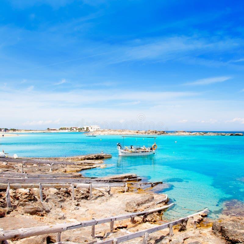 παραλία els formentera pujols στοκ φωτογραφία