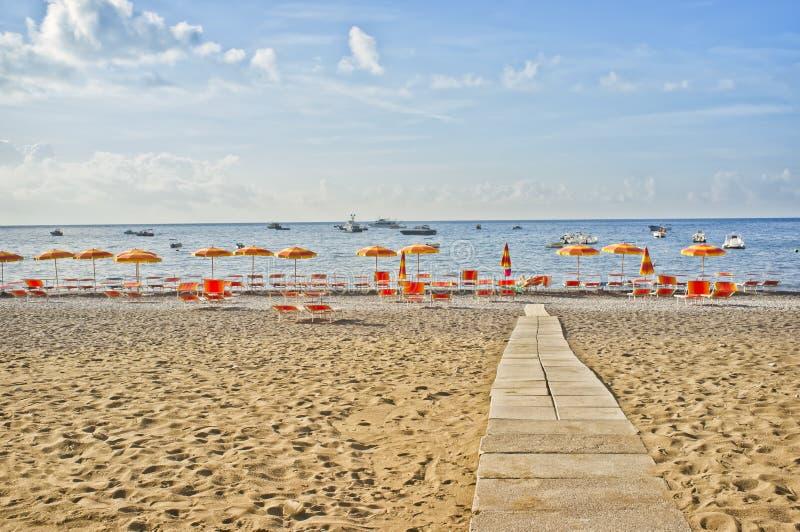 Παραλία Positano, ακτή της Αμάλφης, Ιταλία στοκ φωτογραφίες με δικαίωμα ελεύθερης χρήσης