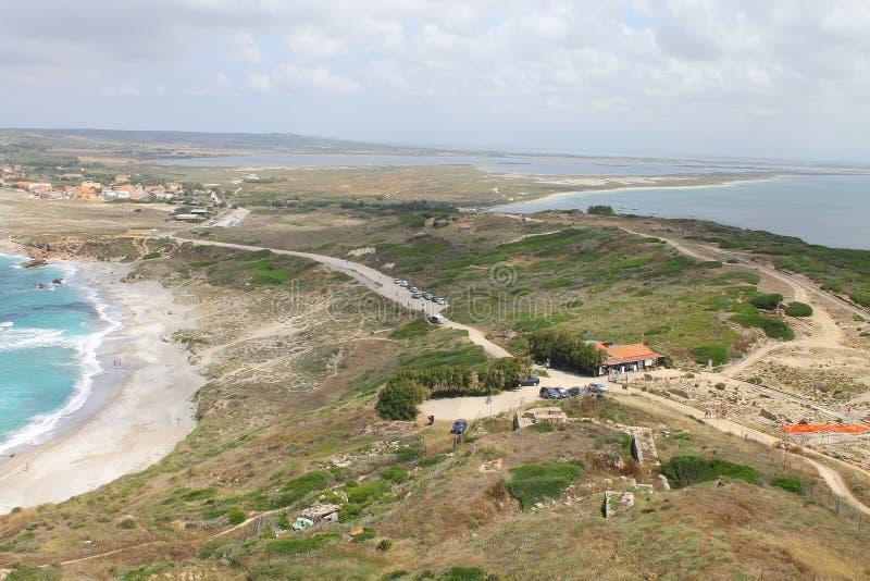 Παραλία SAN Giovanni Di Sinis και η αρχαιολογική περιοχή Tharros στη Σαρδηνία Ιταλία στοκ εικόνα με δικαίωμα ελεύθερης χρήσης