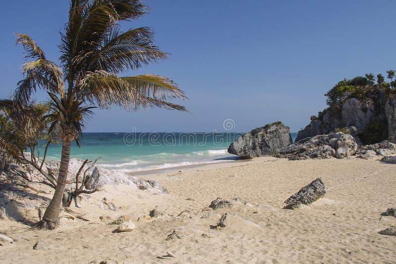 Παραλία Tulum σε μια ηλιόλουστη ημέρα στοκ εικόνα