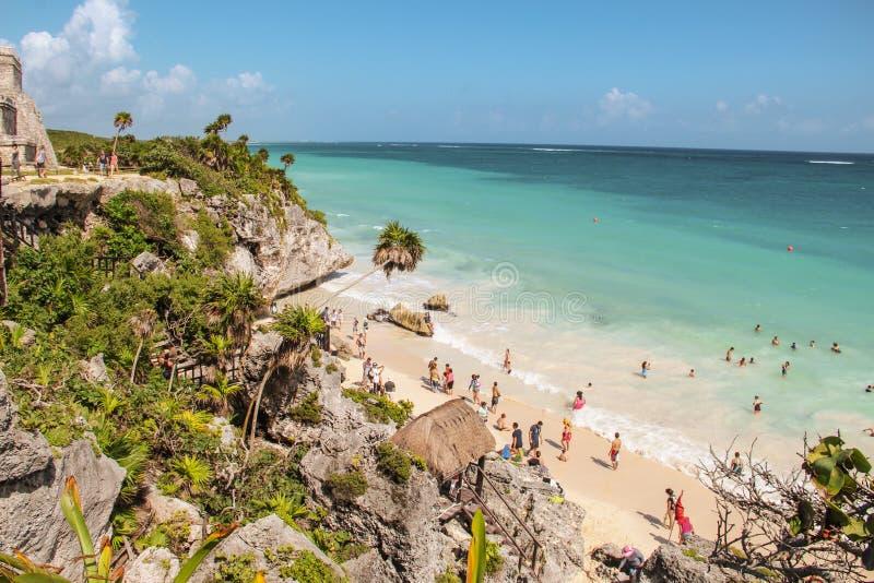 Παραλία Tulum στις καταστροφές Tulum, Μεξικό στοκ φωτογραφία με δικαίωμα ελεύθερης χρήσης