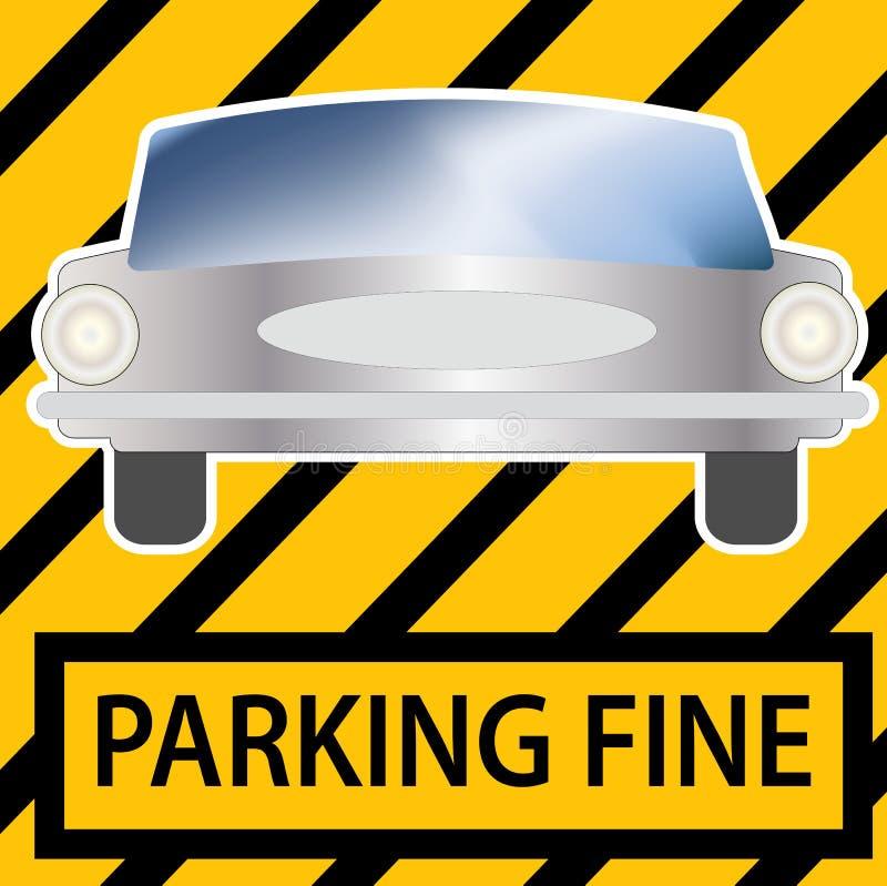 παραλαβή του πρόστιμου χώρων στάθμευσης με μια εικόνα του αυτοκινήτου απεικόνιση αποθεμάτων