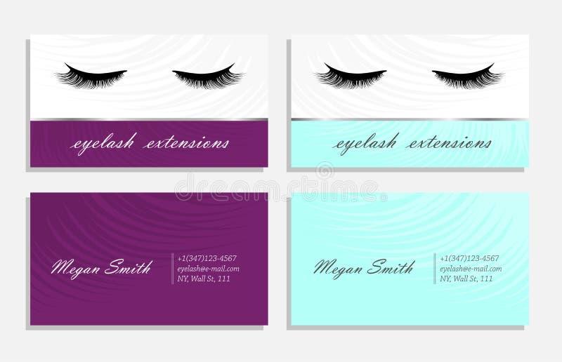 Παραλλαγή επαγγελματικών καρτών για το κύριο διάνυσμα extinsions eyelash απεικόνιση αποθεμάτων