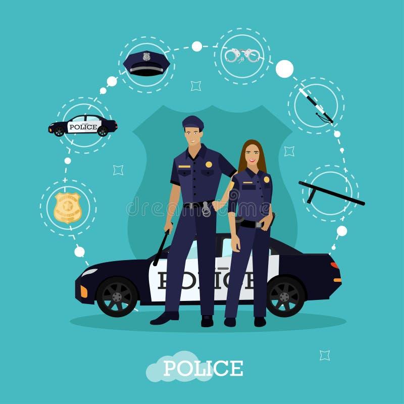 Παραμονή ανδρών και γυναικών αστυνομίας δίπλα στο αυτοκίνητο Επίπεδο ύφος απεικόνισης έννοιας διανυσματικό Ανώτερος υπάλληλος σε  απεικόνιση αποθεμάτων