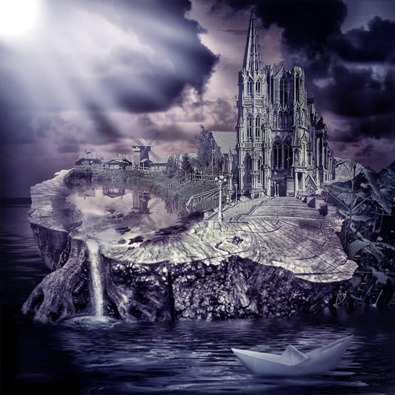 Παραμύθι. κάστρο και χωριό φαντασίας στοκ φωτογραφία με δικαίωμα ελεύθερης χρήσης