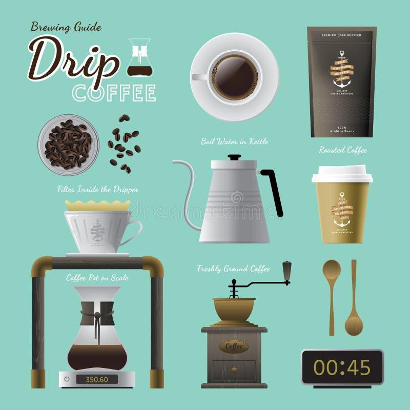 Παρασκευάζοντας σύνολο οδηγών καφέ σταλαγματιάς διανυσματική απεικόνιση