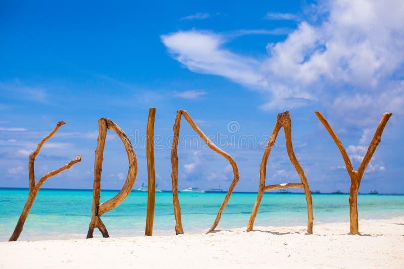 Παρασκευή λέξης φιαγμένη από ξύλο στο νησί Boracay στοκ φωτογραφία