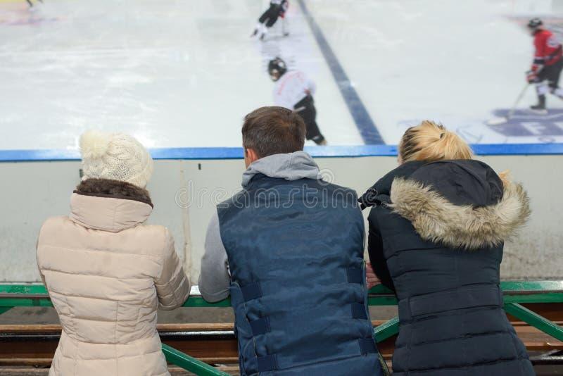 Παρατήρηση του παιχνιδιού χόκεϋ πάγου στοκ εικόνα