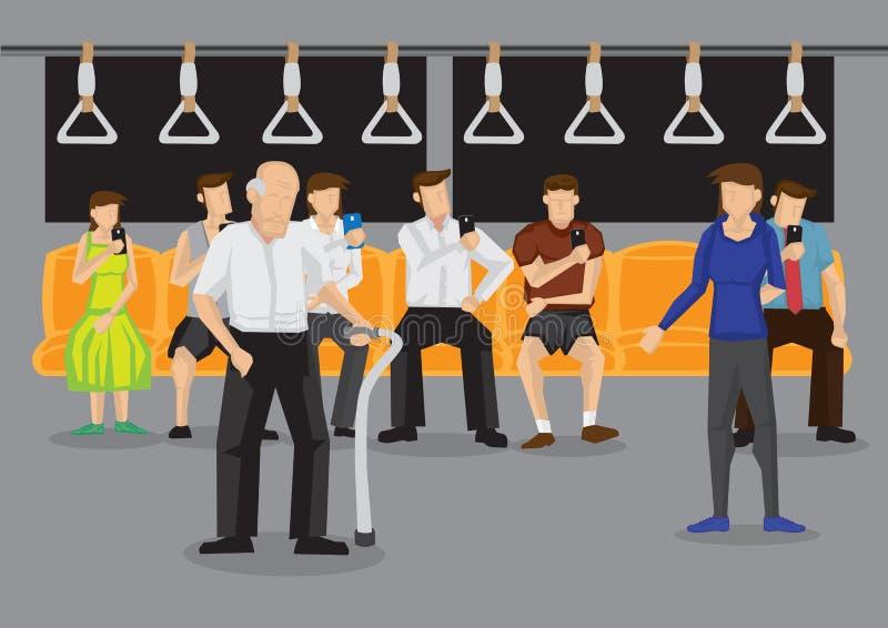 Παραχώρηση του καθίσματος στην ηλικιωμένη διανυσματική απεικόνιση ελεύθερη απεικόνιση δικαιώματος
