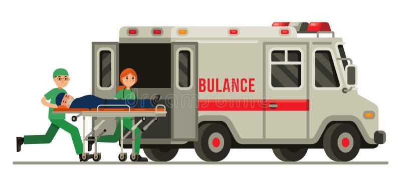 Παραϊατρικός φέρνοντας ασθενής έκτακτης ανάγκης ασθενοφόρων διανυσματική απεικόνιση ύφους φορείων στην επίπεδη στοκ φωτογραφία με δικαίωμα ελεύθερης χρήσης