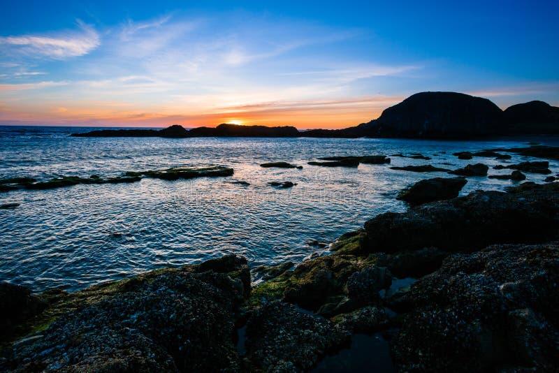 Παραλία βράχου σφραγίδων στο ηλιοβασίλεμα στο Όρεγκον στοκ φωτογραφία
