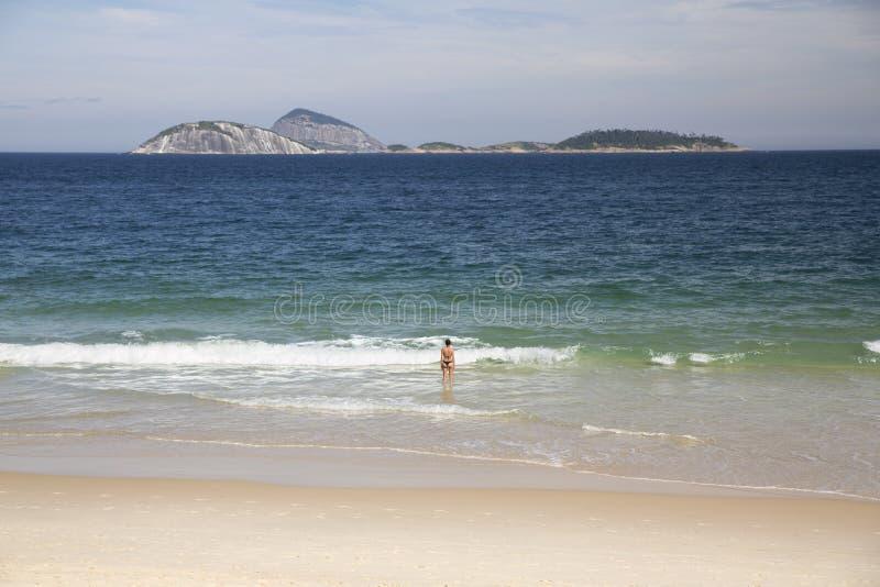 Παραλία Βραζιλία Ipanema Ρίο ντε Τζανέιρο στοκ εικόνες με δικαίωμα ελεύθερης χρήσης