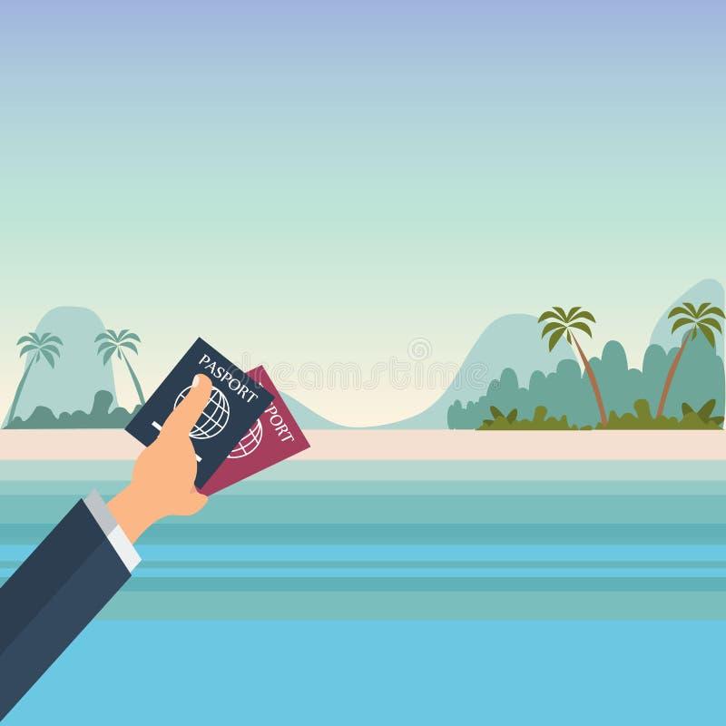 Παραλία εγγράφων HoldingTravel χεριών Επίπεδη διανυσματική απεικόνιση στοκ εικόνα με δικαίωμα ελεύθερης χρήσης