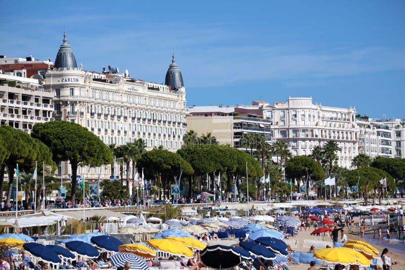Παραλία και διεθνές ξενοδοχείο Γαλλία των Καννών του Carlton στοκ φωτογραφίες με δικαίωμα ελεύθερης χρήσης