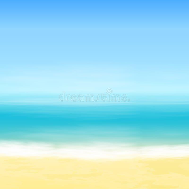 Παραλία και μπλε θάλασσα ανασκόπηση τροπική διανυσματική απεικόνιση