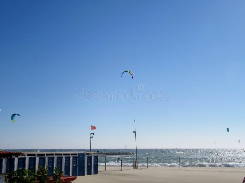 Παραλία και surfers στοκ φωτογραφία με δικαίωμα ελεύθερης χρήσης