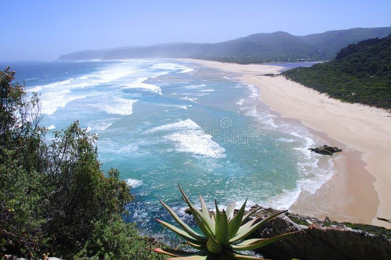 Παραλία κατά μήκος του ίχνους πεζοπορίας ενυδρίδων, Νότια Αφρική στοκ εικόνες