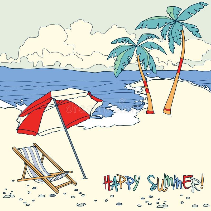 Παραλία με τους φοίνικες και την καρέκλα παραλιών Καλοκαίρι απεικόνιση αποθεμάτων