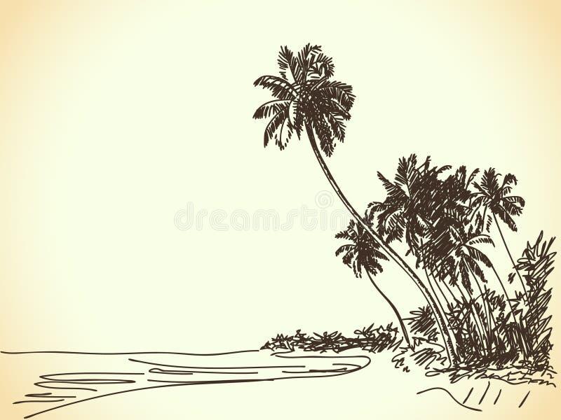 Παραλία με τους φοίνικες διανυσματική απεικόνιση
