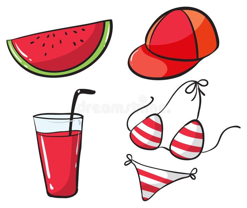 Παραλία που τίθεται με το ποτό και το μπικίνι απεικόνιση αποθεμάτων